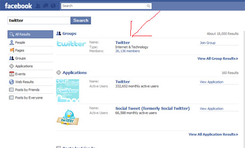"Search for ""Twitter"" on Facebook"