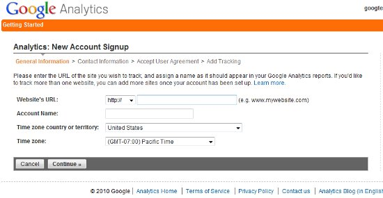 Sign-up For Google Analytics