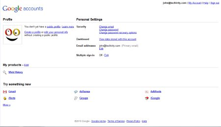 Google Account Interface