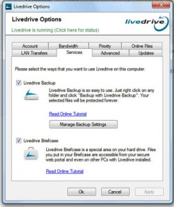 Live Drive offers Back-ups and Briefcase